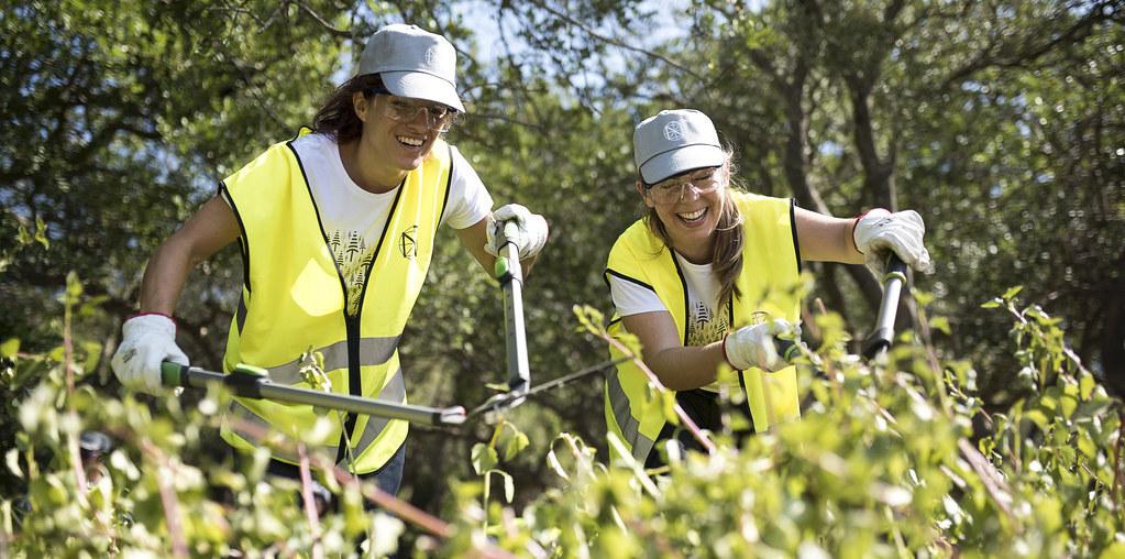 Duas jovens voluntárias a fazerem limpeza da floresta