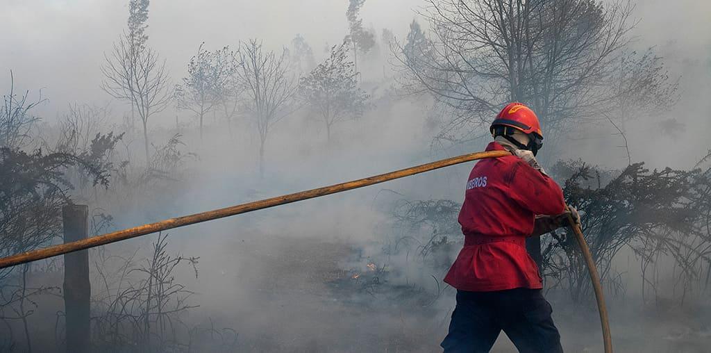 bombeiro homem a apagar fogo