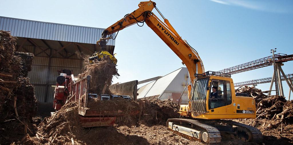 escavadora a retirar biomassa